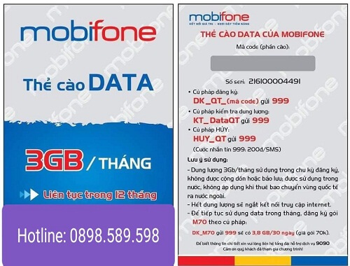nap data 3g gia re mobiphone