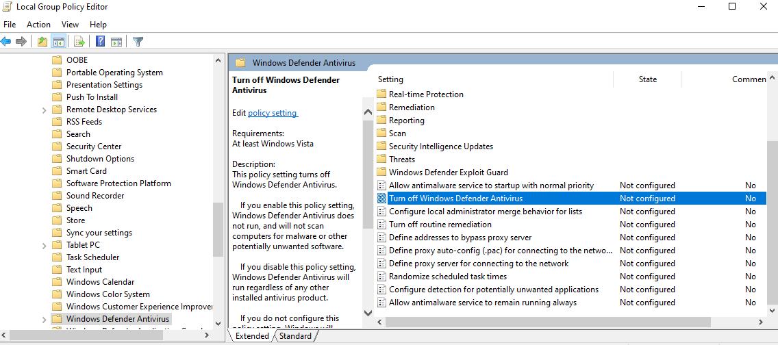 tat windows defender antivirus bang local group policy